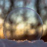 frozen soap bubble, soap bubble, slightly frozen