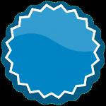 badge, blue, button