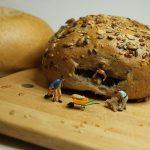 breakfast, bun, miniature figures