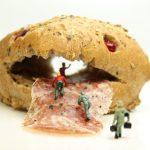 bun, salami, miniature figures