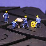tire, repair, miniature figures