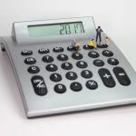 calculator, number, miniature figures