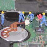 computer, hard drive, miniature figures