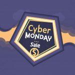 cyber monday, pentagon shape sticker, monday