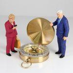 compass, direction, miniature figures